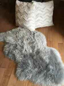 Sheepskin Rug and Two Fur Pillows