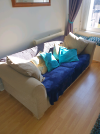 Couch/Sofa + cushions and throws