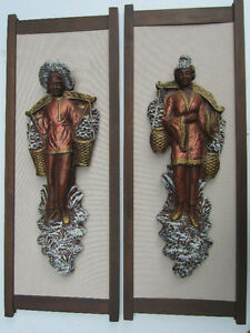 Asian Wall Plaques, Pair