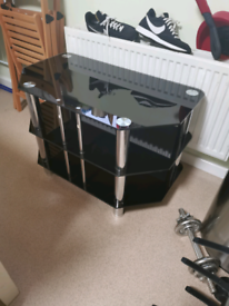 Tv stand blank glass 3 tier