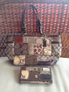Coach Animal Patchwork Tote with Matching Wallet *RARE*