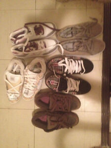 5 pairs of shoes , 15 dollars each or all for 55 dollars