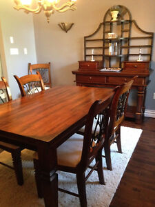 Ashley Dining Room Set - Table, 6 chairs & Hutch