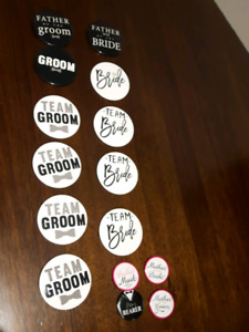 15 wedding party buttons bride groom etc