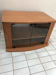 WOOD AND GLASS TV STAND - CONSOLE