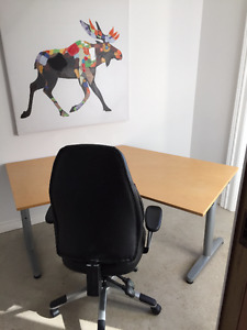 Angled Desk and black office chair