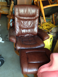 Dark Brown Leather Recliner Chair With Otooman