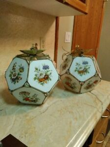 2 painted glass ceiling light fixtures for sale