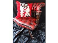 Antique Regency Chesterfield Style Leather Oxblood Red Captains Swivel Chair