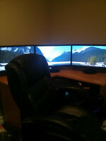 Full Gaming Setup w/Triple Monitors and Crossfire, 4.2GHZ, SSD