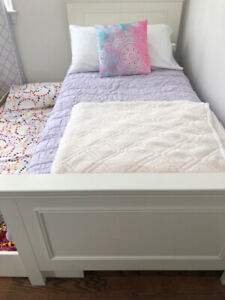 Girls White Single Bed Set with Trundle Bed