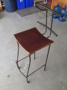 Wrought iron and wood barstools