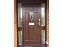 Brown wooden front door