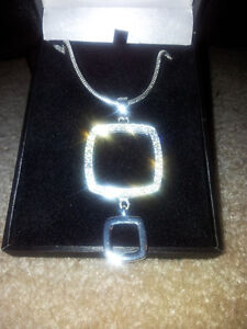 Beautiful Two Tier Square designer necklace $1525.00 value London Ontario image 3