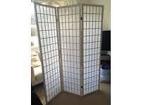 White handmade 3 screen room divider/screen