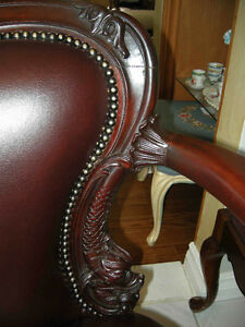 antique cherry wood sofa carved dolphins new leather Oakville / Halton Region Toronto (GTA) image 6