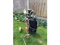 Full Set of Adult Right Handed Golf Clubs with Bag & Golf King Trolley