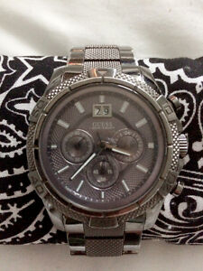 Mens Guess Watch, Gunmetal Grey with Chronograph