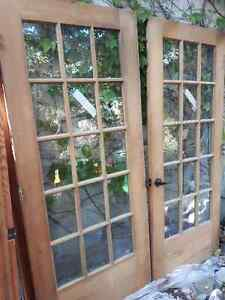 Antique rustic wood french doors