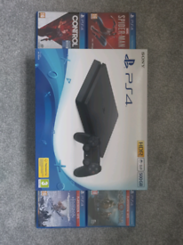 PS4 Slim 500GB Console Boxed + 4 Games