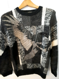 80s-90s knit top with leather eagle design