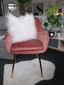 NEW Vintage Pink Velvet Armchair Gold DELIVERY AVAILABLE