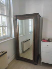 Antique Oak Mirrored Wardrobe/Armoire