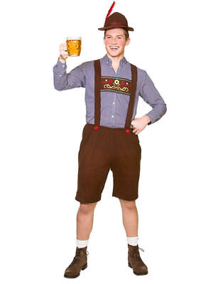 Herren Oktoberfest Bayrisch Kostüm Lederhosen + Hut Deutsche Bier Fest Plus