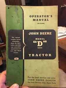 John Deere Model D Tractor Operators Manual Moose Jaw Regina Area image 1