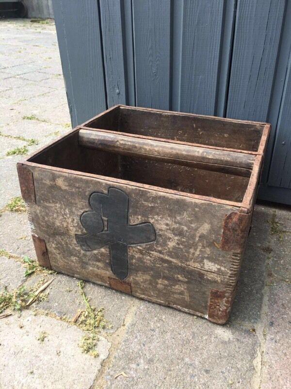 Vintage oriental wooden trug box crate garden planter display Asian storage