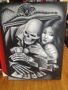"""Large 36"""" x 48"""" Casino Gambling Poker Room Skeleton Painting Art"""
