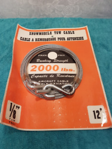 Câble neuf 12' pour remorquage de VTT / motoneige / 2000 lbs