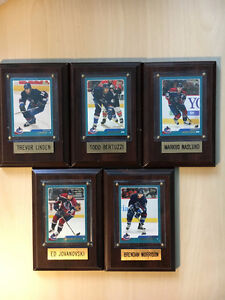 CANUCKS MOUNTED HOCKEY CARDS, INDIVIDUAL PLAQUE
