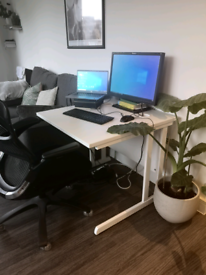 Office chair, desk and monitor combo