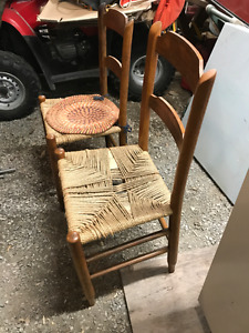 Wood Chairs Cain Seats Antique