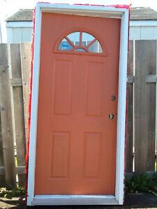 """36""""x80"""" steel exterior door with box"""