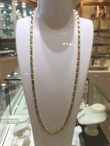 2 Tone 10k Gold Versace Chaine 28 inches 5.3mm 21.6 gr