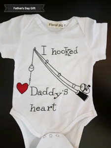 """""""I Hooked Daddy's Heart"""" Onesie; Brand New"""