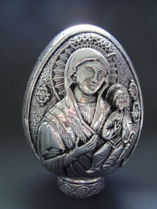 RARE COLLECTIBLE MARY AND JESUS  STERLING SILVER EGG 420GRAMS
