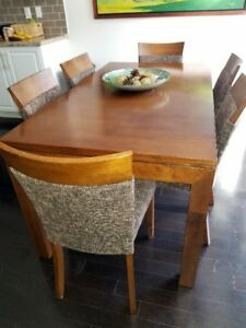 Solid wood dinning set for six …. Downsizing great opportunity
