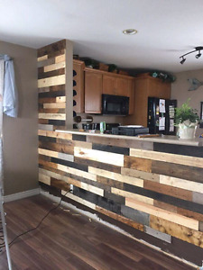 Pallet Planks reclaimed barnboard accent wood wall DIY pallet