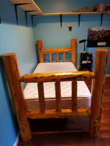 Single Log bed with mattress