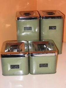 SET OF CANNISTERS GREEN VINTAGE
