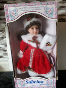 Collectible Christmas Porcelain Doll in Box