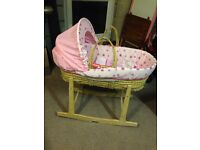 Girl's Moses Basket and Rocking Stand