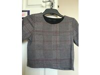 Topshop petite chequered crop top size 8