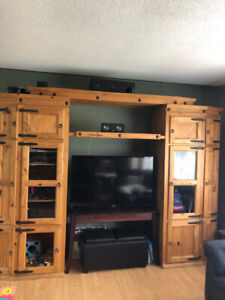 """Solid Pine Rustic Entertainment unit holds 80"""" TV..$900"""