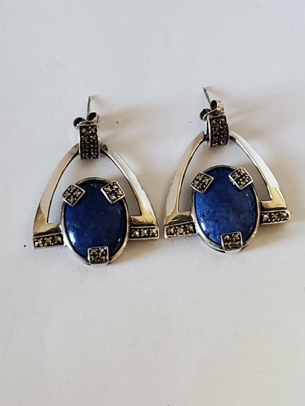 Vintage Art Deco Style Sterling Lapis Marcasite Drop Earrings