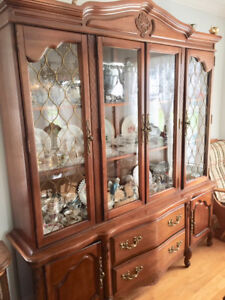 Vintage Buffet Hutch with glass doors/light