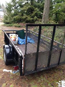 Utility trailer 5'x10' black metal sides, hinged ramp